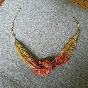 Gold and Pink beaded necklace